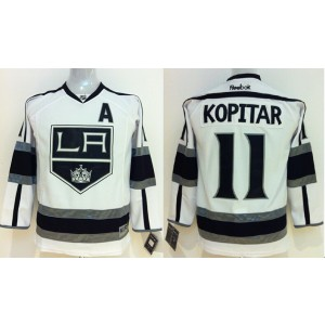 NHL Kings 11 Anze Kopitar White With A Patch Youth Jersey
