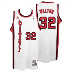 NBA Blazers 32 Bill Walton White Throwback Men Jersey