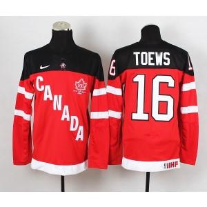 Team Canada No.16 Jonathan Toews Red And Black Men's Hockey Jersey