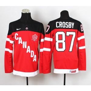 Team Canada No.87 Sidney Crosby Red And Black Men's Hockey Jersey
