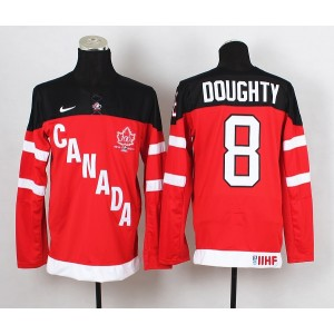 Team Canada No.8 Drew Doughty Red And Black Men's Hockey Jersey