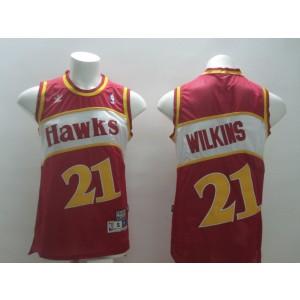 NBA Hawks 21 Dominique Wilkins Red Men Jersey