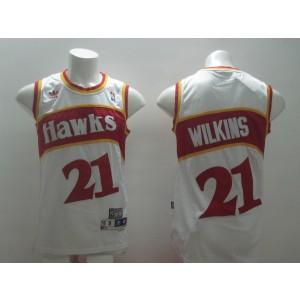 NBA Hawks 21 Dominique Wilkins White Men Jersey