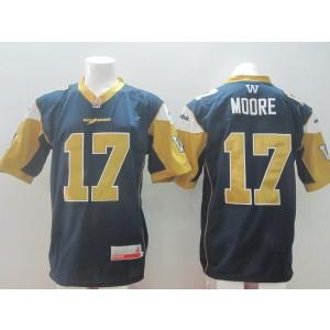 Winnipeg Blue Bombers No.17 Moore Blue Men's Football Jersey