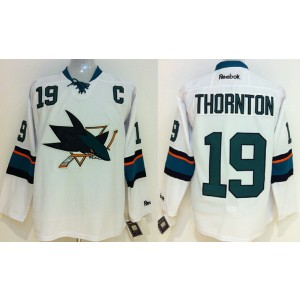 NHL Sharks 19 Joe Thornton With C Patch White Male Men Jersey