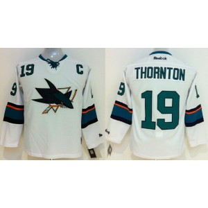 NHL Sharks 19 Joe Thornton With C Patch White Youth Jersey