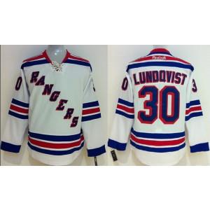 NHL Rangers 30 Henrik Lundovist White Male Men Jersey