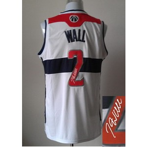 NBA Wizards 2 John Wall White Autographed Men Jersey