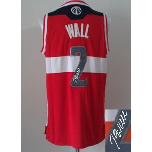 NBA Wizards 2 John Wall Red Autographed Men Jersey