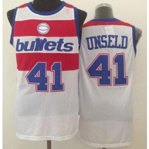 NBA Wizards 41 Wes Unseld White Bullets Throwback Men Jersey