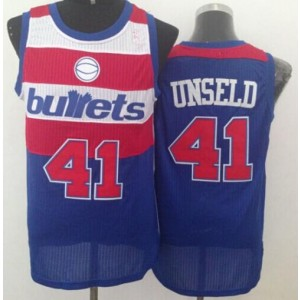 NBA Wizards 41 Wes Unseld Blue Bullets Throwback Men Jersey