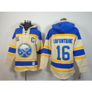 NHL Sabres 16 Pat Lafontaine Cream With C Patch Men Sweatshirt