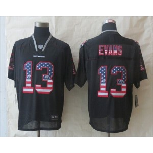 Nike Tampa Bay Buccaneers No.12 Mike Evans Black Fashion USA Flag Number Men's Football Elite Jersey