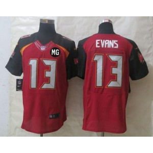 Nike Tampa Bay Buccaneers No.13 Mike Evans Red With MG Patch Men's Football Elite Jersey