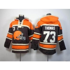 Cleveland Browns No.73 Joe Thomas Brown Sawyer Hooded Sweatshirt Men's Football Jersey
