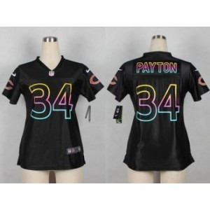 Nike Chicago Bears No.34 Walter Payton Black Fashion Women's Football Jersey