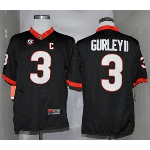 NCAA Georgia Bulldogs 3 Todd Gurley II Black Limited SEC Patch Men Jersey