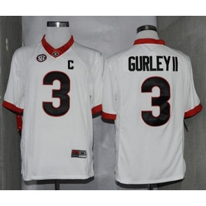 NCAA Georgia Bulldogs 3 Todd Gurley II White Limited SEC Patch Men Jersey