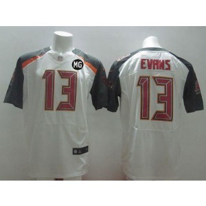 Nike Buccaneers 13 Mike Evans White With MG Patch NFL New Elite Jersey