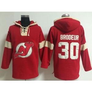 NHL Devils 30 Martin Brodeur Red Hooded Men Sweatshirt