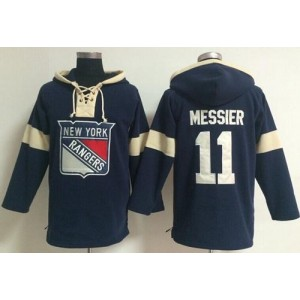 NHL Rangers 11 Mark Messier Navy Blue Hooded Men Sweatshirt