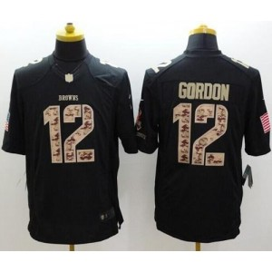 Nike Browns 12 Josh Gordon Black Men Stitched NFL Limited Salute to Service Jersey