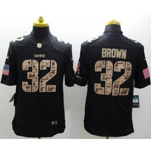 Nike Browns 32 Jim Brown Black Men Stitched NFL Limited Salute to Service Jersey