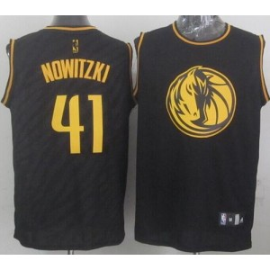 NBA Mavericks 41 Dirk Nowitzki Black Precious Metals Men Jersey