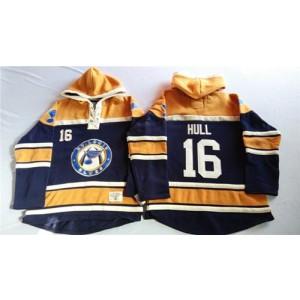 NHL Blues 16 Brett Hull Navy Blue With Gold Men Sweatshirt