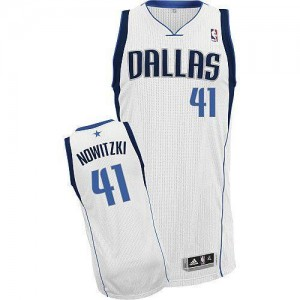 NBA Mavericks 41 Dirk Nowitzki White Revolution 30 Men Jersey