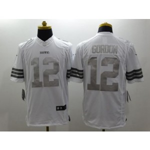 Nike Browns 12 Josh Gordon White Men Stitched NFL Limited Platinum Jersey