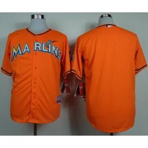 MLB Marlins Blank Orange Cool Base Men Jersey