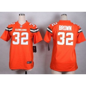 Nike Browns 32 Jim Brown Orange Alternate Women Stitched NFL New Elite Jersey