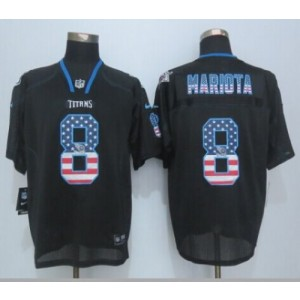 2015 Draft Nike Titans 8 Marcus Mariota Black Men Stitched NFL Elite USA Flag Fashion Jersey