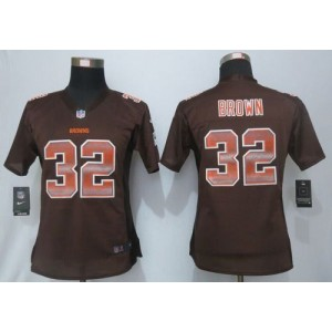 Nike Browns 32 Jim Brown Brown Team Color Women Stitched NFL Elite Strobe Jersey