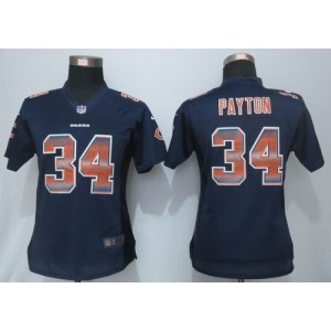 Nike Bears 34 Walter Payton Navy Blue Team Color Women Stitched NFL Elite Strobe Jersey