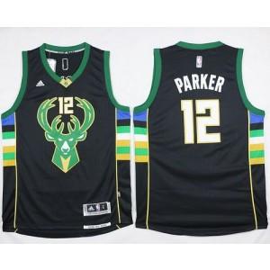 NBA Bucks 12 Jabari Parker Black Alternate Men Jersey