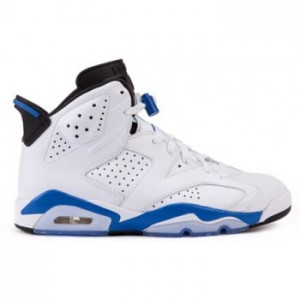 Air jordan 6 Retro White Sport Blue-Black( Men Women GS Youth Girls)