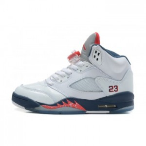 Air jordan Retro 5 Sneakers In White Varstiy Red Mid Navy (Women Men Gs Girls)