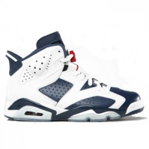 Air jordan Retro 6 Olympic 2012 White Midnight Navy Varsity Red (Women Men Gs Girls) A06012