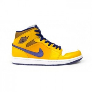 Air jordan 1 Retro Mid Los Angeles Lakers University Gold Tour Yellow-White-Grape Ice