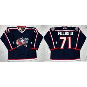 NHL Blue Jackets 71 Nick Foligno Navy Blue Home Men Jersey