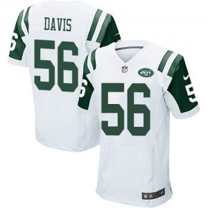 Nike Jets 56 Demario Davis White Men Stitched NFL Elite Jersey