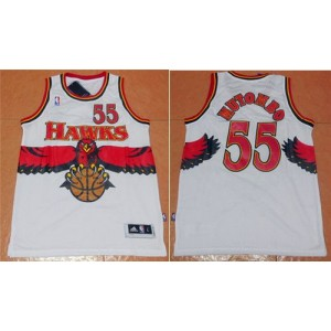 NBA Hawks 55 Dikembe Mutombo White Throwback Men Jersey