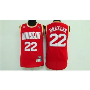 NBA Rockets 22 Clyde Drexler Red Throwback Men Jersey