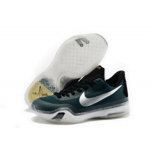 Nike Kobe 10 Dark Green Silver Basketball Mens Shoes