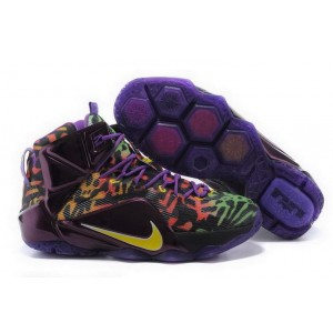 Nike Lebron 12 Black Purple Basketball Mens Shoes