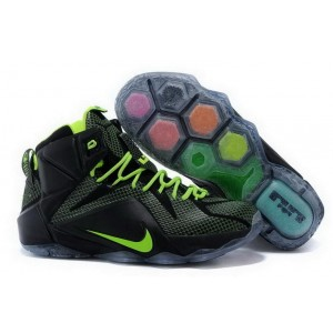 Nike Lebron 12 Black Green Blue Basketball Mens Shoes