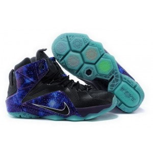 Nike Lebron 12 Black Blue Basketball Mens Shoes