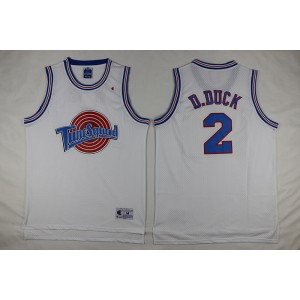 Space Jam Tune Squad 2 Daffy Duck White Movie Stitched Basketball Jersey